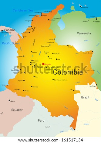 vector map of Colombia country - stock vector