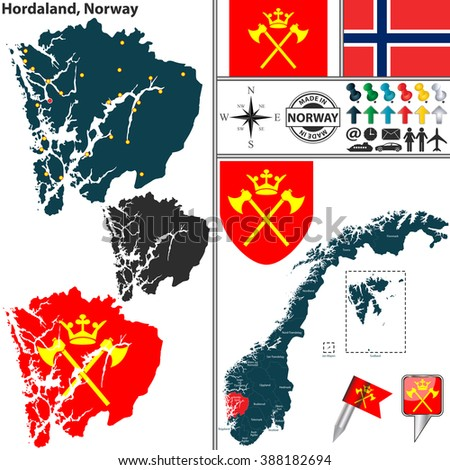 Vector map of county Hordaland with coat of arms and location on Norwegian map