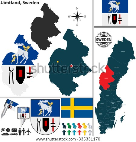 Vector Map County Halland Coat Arms Stock Vector - Jamtland sweden map