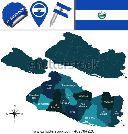 Vector map of El Salvador with named departments and travel icons - stock vector