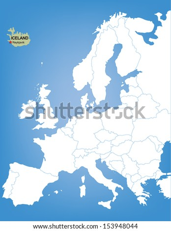 Vector Map of Europe Highlighting the Country of Iceland - stock vector