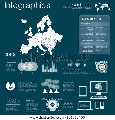 Vector map of Europe, illustration and infographics design template. flat modern style. Easy to edit country. White infographics - stock vector