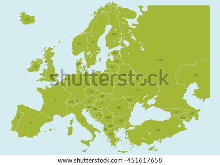 vector map of europe with borders and country codes