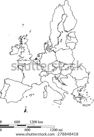 Vector map of European Union with mileage and kilometer scales, European Union map outlines with boundaries/ polygons or borders of EU countries for science and education uses - stock vector
