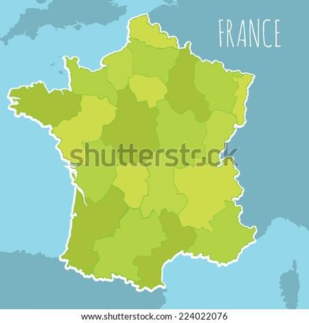 Vector Map France Broken Into Provinces Stock Vector 224022076