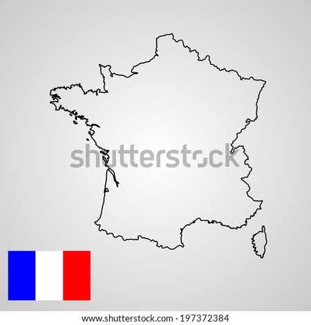 Vector map of France isolated on gray background.High detailed. France flag vector. Vector illustration.  - stock vector
