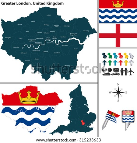 vector map of greater london in united kingdom with regions and flags