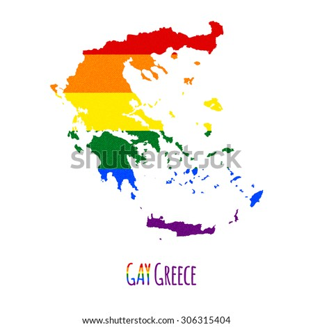 Vector map of Greece in LGBT (lesbian, gay, bisexual, and transgender) flag colors and GAY Greece caption on white background. Rainbow flag with denim textile texture. - stock vector