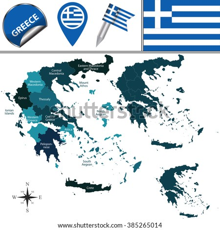 Vector map of Greece with named regions and travel icons - stock vector