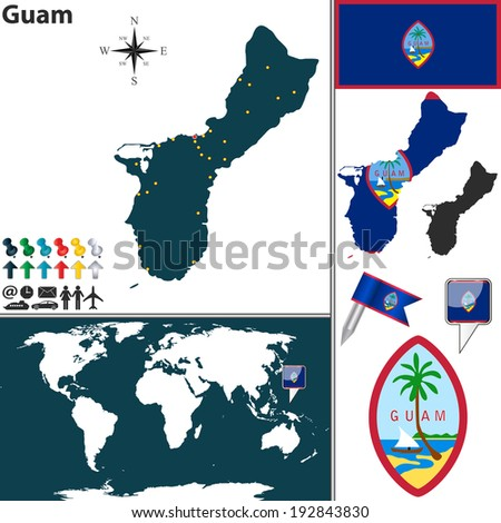 Vector map of Guam with regions, coat of arms and location on world map - stock vector