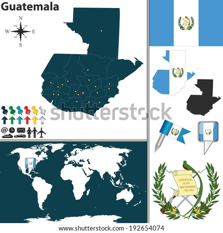 Vector map of Guatemala with regions, coat of arms and location on world map - stock vector