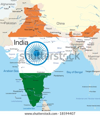 Vector map of India country colored by national flag - stock vector