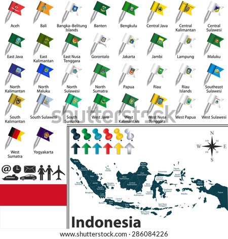 Vector map indonesia regions flags location stock vector hd royalty vector map of indonesia with regions with flags and location on world map gumiabroncs Choice Image
