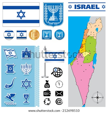 Vector map of Israel with a set of signs and symbols - stock vector