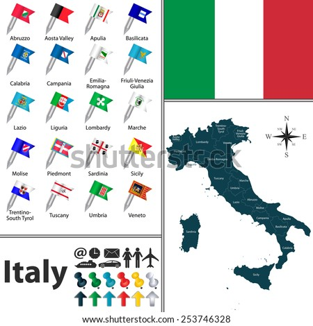 Vector map of Italy with regions with flags - stock vector