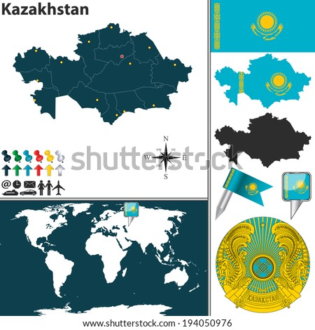 Vector map kazakhstan regions coat arms stock vector 194050976 vector map of kazakhstan with regions coat of arms and location on world map gumiabroncs Images