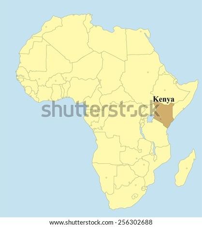 Vector map of Kenya in Africa  - stock vector
