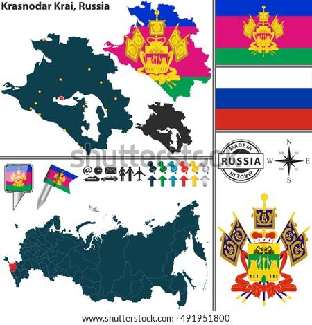 Vector Map Krasnodar Krai Coat Arms Stock Vector 491951800