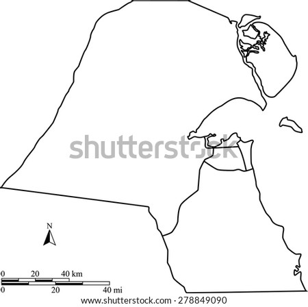 Vector map of Kuwait with mileage and kilometer scales and boundaries/polygons of districts or provinces or states, Kuwait map outlines with scales for science and publication uses - stock vector