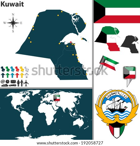 Kuwait map stock images royalty free images vectors shutterstock vector map of kuwait with regions coat of arms and location on world map gumiabroncs Gallery