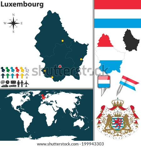 Vector map of Luxembourg with coat of arms and location on world map