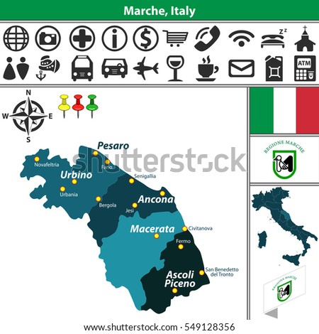 Vector Map Marche Regions Location On Stock Vector 549128356
