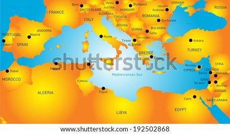 vector map of Mediterranean region countries - stock vector