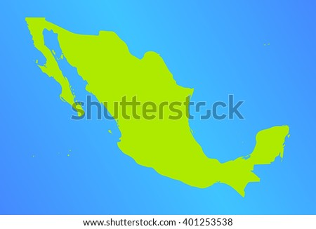 vector map of mexico in a modern style. green country on a blue background. vector illustration - stock vector