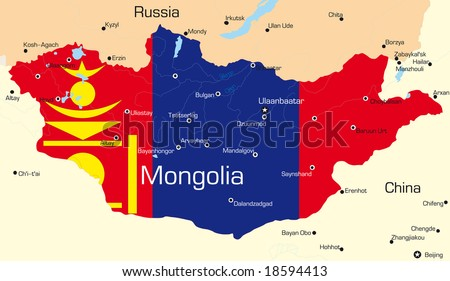 Vector Map Mongolia Country Colored By Stock Vector - Map of mongolia