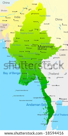 Vector map of Myanmar country