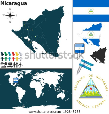 Vector Map Nicaragua Regions Coat Arms Stock Vector - Nicaragua location on world map