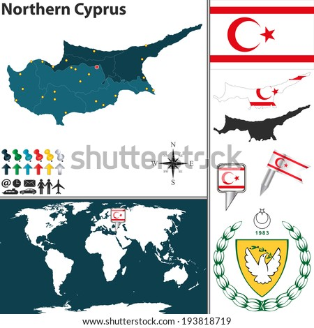 Vector map northern cyprus regions coat stock vector 193818719 vector map of northern cyprus with regions coat of arms and location on world map gumiabroncs Image collections