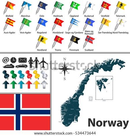 Vector Map Norway Regions Flags Stock Vector Shutterstock - Map of norway