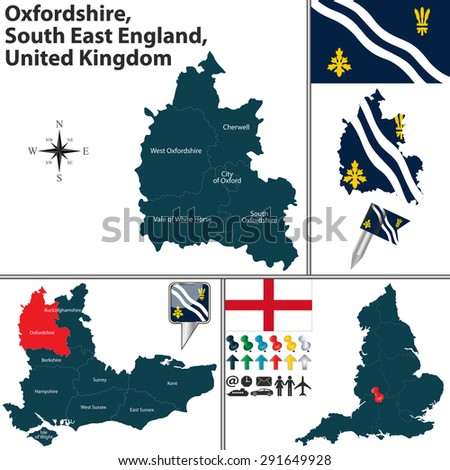 Vector map of Oxfordshire, South East England, United Kingdom with regions and flags - stock vector