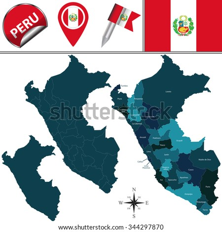 Vector map of Peru with named divisions and travel icons - stock vector