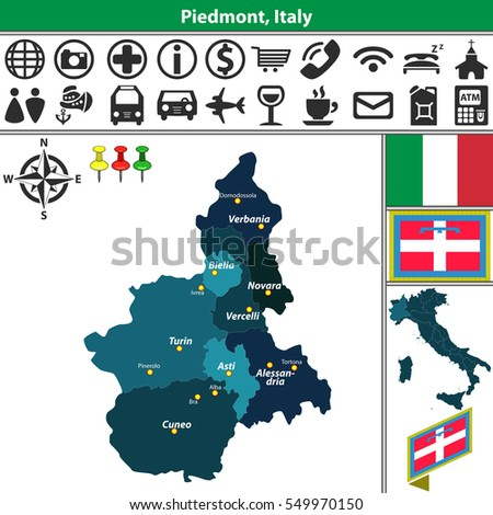Vector Map Piedmont Regions Location On Stock Vector 549970150