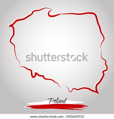 Vector map of Poland with colors of flag, on the light background - stock vector