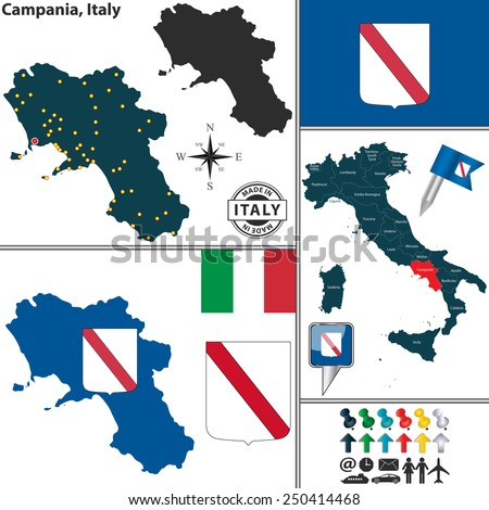 Vector map of region Campania with coat of arms and location on Italy map