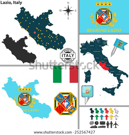 Vector map of region Lazio with coat of arms and location on Italy map