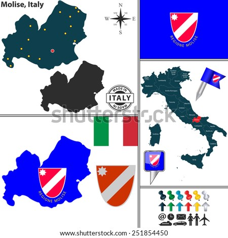Vector Map Region Molise Coat Arms Stock Vector 251854450 Shutterstock