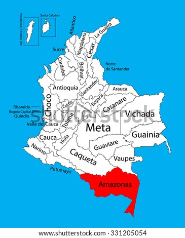 Vector map of region of Amazonas, Colombia editable vector map. Administrative divisions of Colombia editable map.  - stock vector