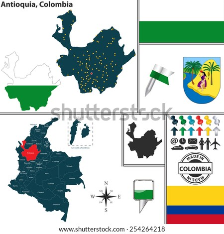 Vector map of region of Antioquia with coat of arms and location on Colombian map - stock vector