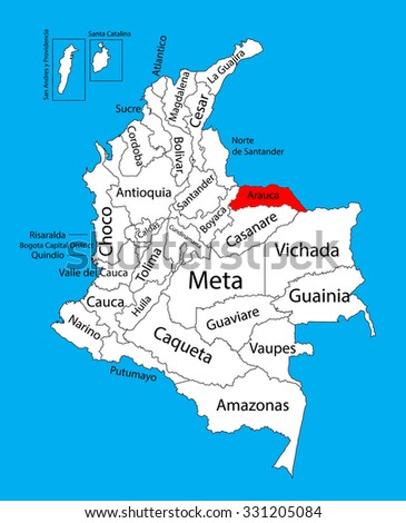 Vector map of region of Arauca, Colombia editable vector map.  Administrative divisions of Colombia editable map. - stock vector