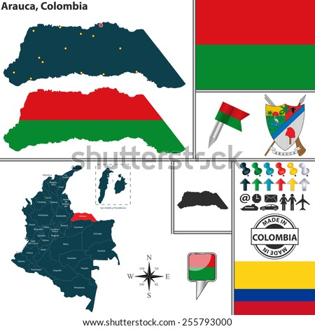 Vector map of region of Arauca with coat of arms and location on Colombian map - stock vector