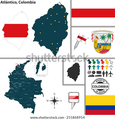 Vector map of region of Atlantico with coat of arms and location on Colombian map - stock vector