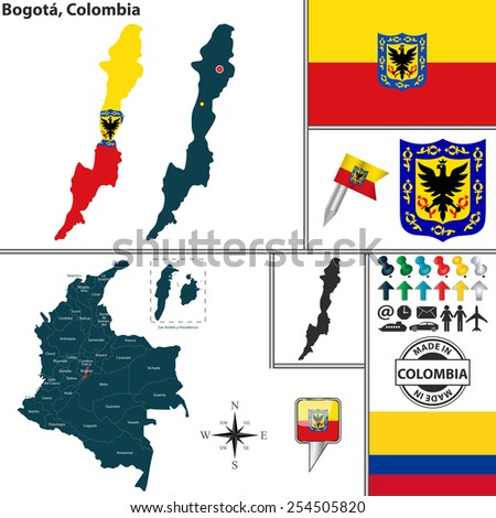 Vector map of region of Bogota with coat of arms and location on Colombian map - stock vector