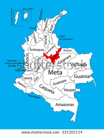 Vector map of region of Boyaca, Colombia editable vector map.  Administrative divisions of Colombia editable map. - stock vector