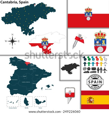 Vector Map Region Cantabria Coat Arms Stock Vector 249226060