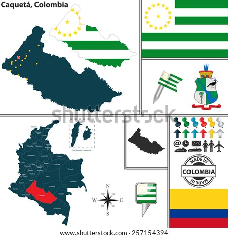 Vector map of region of Caqueta with coat of arms and location on Colombian map - stock vector