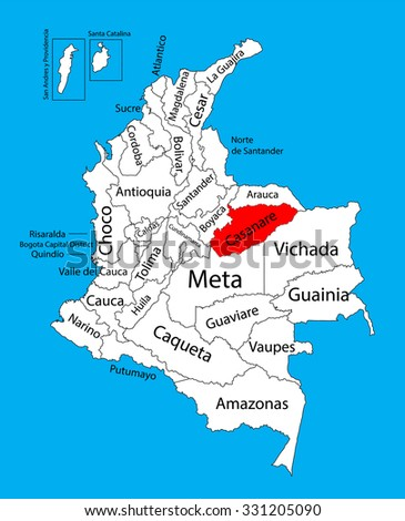 Vector map of region of Casanare, Colombia editable vector map.  Administrative divisions of Colombia editable map. - stock vector